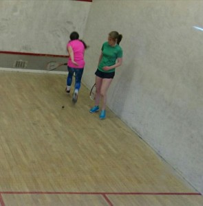 Daisy Findlay (JGS) struggling to get to grips with Beth's drop  shots.
